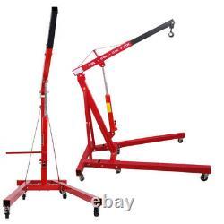 Red Garage 1 Tonne De Pliage Moteur Crane Stand Hydraulique Hoist Lift Jack Movable