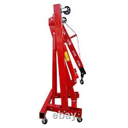 Red Heavy Duty 1 Ton 1t Moteur Hydraulique Pliant Crane Stand Hoist Ascenseur Jack Uk