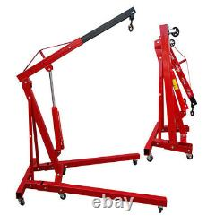 Red Heavy Duty Hydraulic Crane De Moteur 2 Ton Stand Pliant Ascenseur Jack Garage