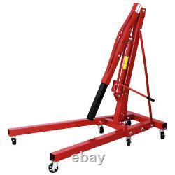 Roueed 2 Ton Hydraulic Hoist Lift Jack Moteur Crane Mechanics Stand Pliant Rouge