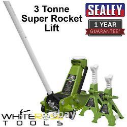 Sealey Chariot Jack 3 Ton Super Rocket Tonne Lift Axle Stands Salut Vis Vert