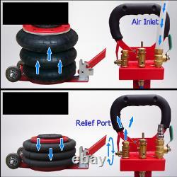Techtongda 3 Tonnes/6600lbs Triple Air Bag Jack Stand Automotive Lifting Tools